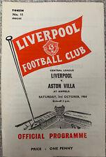 More details for liverpool reserves v aston villa reserves 1964/65