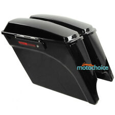 "5"" Stretched Extended Hard Saddle Bags For Harley Touring Road King 1993-2013 BK"