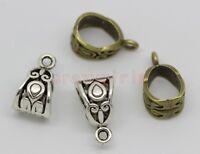 40/100pcs Tibetan Silver 6mm Hole Charm Bail Connector Bead Fit Charm Bracelet