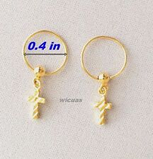 Earrings Gold Plated Micron Hoop Baby Girls Women Thai Small GP Cross Dangle