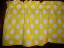 Yellow White Large Polka Dot Minnie Mickey Mouse cotton fabric curtain Valance
