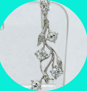 "Platinum vintage diamond floral vine pendant round European cut 1.28CT 1.5"" long"