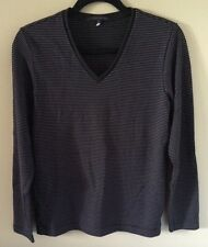 Unisex HOT Black striped Long sleeve T-shirt V-neck soft Stretch Size Small