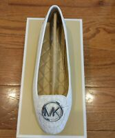 New MICHAEL KORS 8.5 M Women's Shoes LILLIE MOC MK SIGNATURE PVC optic white