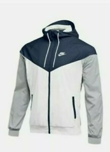 Nike Windrunner Windbreaker Jacket Hoodie White/Navy Men's Sz XS NEW 898730-420