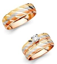 14k Tri Color Gold Stripes Trio Wedding Band Bridal Solitaire Engagement Ring