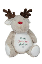 Personalised Christmas Reindeer Soft Toy New Baby Child Gift Present
