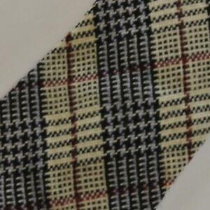 Skinny Vintage Beige Black Purple Plaid Wool Tie