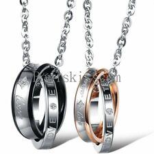"Stainless Steel "" Forever Love "" Ring Pendant Necklace Boyfriend Girlfriend Gift"