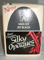 Leggs Sheer Elegance Silky Opaques Sheer Toe Jet Black Pantyhose Size A VTG NEW