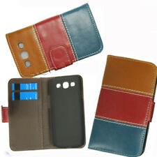 Leather Cover Case Card Pouch For Samsung Galaxy S3 III i9300 Brown Red Blue UK