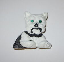 White Terrier Pin New Green Crystal Eye Accents Dogs Brooch Dog Gold Tone