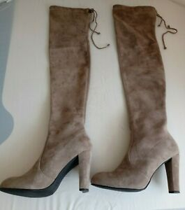 Stuart Weitzman Highland Over The Knee Boots In Khaki Suede Size 6 (39)   H8