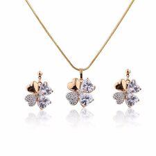 New 18k GP Cubic Zircon Jewellery Set Four Leaf Clover Necklace Pendant Earrings