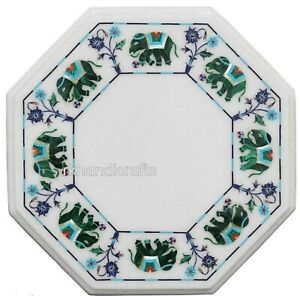 13 Inches Marble Coffee Table Top Inlay with Malachite Stone Art Corner Table