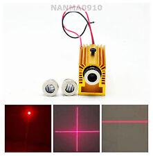 Focusable 50mw 650nm 660nm Red Diode Laser Dot Line Cross Module w/ Heatsink