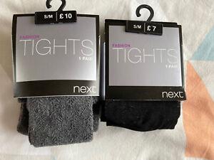 BNWT 2 x Packs Next Patterned Fashion Tights, 1 x Black 1 grey, Size S/M