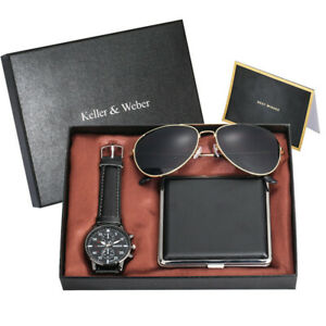 Luxury Gift Set Men's Quartz Wrist Watch with Cigarette Case Sunglasses Card Box