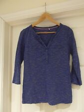 BODEN Top Blue/White Striped Casual Classic V-Neck T-Shirt 100% Cotton Size XS