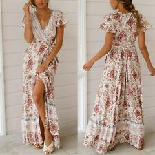 BOHO Women V-Neck Wrap Floral Maxi Dress Ladies Summer Holiday Beach Sundress UK