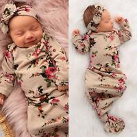 2PCS Newborn Baby Girl Boy Swaddle Wrap Blanket Sleeping Bag+Headband Outfit Set