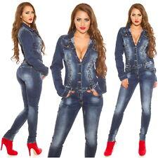 Women's Lace-Up Long Sleeve Denim Jeans Jumpsuit Overall - XS/S/M/L/XL