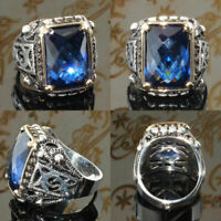 Retro Turkish Handmade Prinecss Sapphire 925 Silver Men's Ring Jewelry NEW #6-10