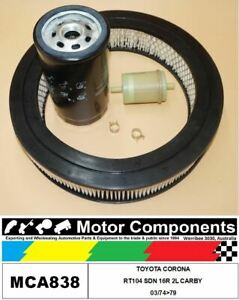 FILTER SERVICE KIT for TOYOTA CORONA RT104 SDN 16R 2L CARBY 03/74>79