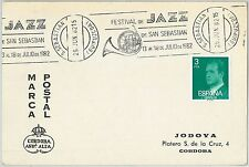 61611 -  SPAIN - POSTAL HISTORY -   POSTMARK on CARD 1982: MUSIC  Jazz