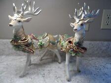 Fitz And Floyd Florentine Christmas White Stag Reindeer Pair Large