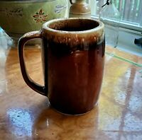 "Vintage HULL Pottery Brown Drip Glaze 5"" Beer Stein Coffee Cup Mug USA ovenproof"