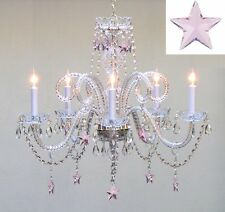 """Empress Crystal (TM) Chandelier Lighting with Pink Crystal Stars H25"""" X W24"""""""