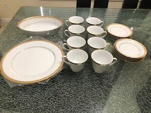 19 PIECES Noritake Essex Gold 4322 Bone China STUNNING! -