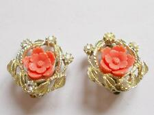 VINTAGE 50's CORAL COLOURED CELLULOID FLOWER CRYSTAL GOLD TONE CLIP ON EARRINGS