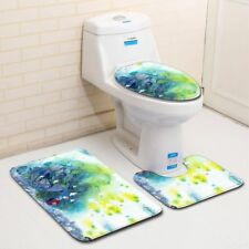 LE 3PCS/Set Small Fresh Painted Bathroom Non-Slip Rug+Lid Toilet Cover+Bath Mat