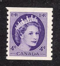 CANADA STAMP #347   4c QUEEN COIL —  HI BRITE VARIETY — MINT