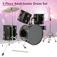 Black 5 pcs Adult Complete Full Size Drum Set Cymbals Kit with Stool & Sticks