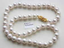 8-8.5mm Hanadama level JAPANESE AKOYA PEARL NECKLACE 18k special clasp