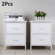 2x White Wooden Bedside Chest Side Table Cabinets Nightstand with 2 Drawers UK.