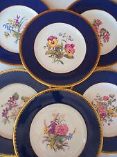 """6 Spode Copeland Hand Paint ALL Different Florals Cobalt Blue Dinner Plate 10.5"""""""