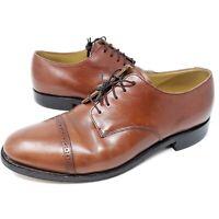 Johnston Murphy Cap Toe Derby Oxford Semi Brogue 8.5 D/B Brown Dress Shoes