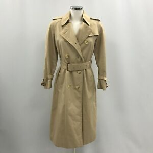 Burberry's Trench Coat Beige Size 6 Petite Women's Buttoned Belted Waist 033437