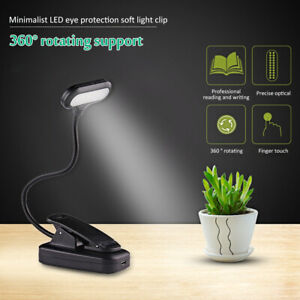 5LEDs Reading Light USB Rechargeable Stand Light Clip On Bed Book Reading Lamps