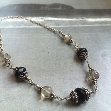 "Vintage Boho Artisan Sterling Silver Necklace with Smokey Quartz 20"" Stamped"