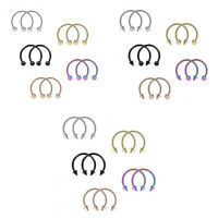 10pcs Pack 16G Nose Septum Horseshoe Hoop Ear Tragus Lip Piercing Jewelry Clip