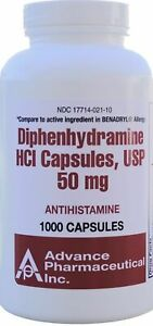 Generic Benadryl Nighttime Sleep-Aid Diphenhydramine 50mg 1000 Caps per Bottle