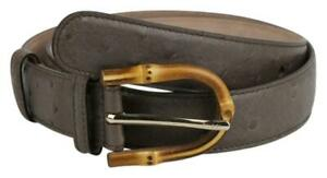 $940 Gucci Women's Grey Ostrich Leather Belt W/Bamboo Buckle 322954 LC80G 2137