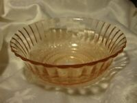 Vintage Pink Clear Glass Bowl Ribbed Scalloped Edge Ornate Serving Dish      372