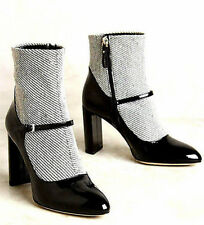 NEW NIB $428 ANTHROPOLOGIE DEIMILLE KELLY MARY JANE ANKLE BOOTS HEELS BLACK 7 37
