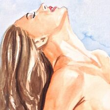 Nude Female Original Art Beautiful Pinup Erotic Painting Woman Sun Worship Pose